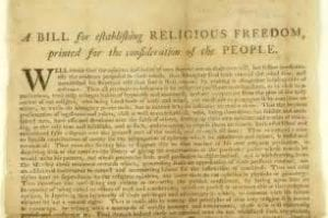 Jefferson Passed the Virginia Statute of Religious Freedom ending the State-Established Church in Virginia and Placing All Religions on Equal Footing