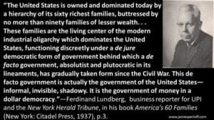"""Lundberg Publishes an Expose of 'America's 60 Families'. """"This Defacto Government is... Invisible, Shadowy. It is the Government of Money in a Dollar Democracy."""""""