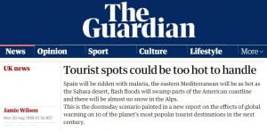 """'The Guardian' Predicts that by 2020, """"Spain will be ridden with malaria, ...there will be almost no snow in the Alps"""""""
